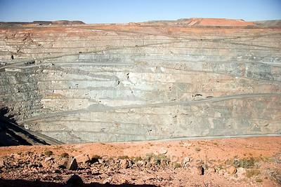 Super Pit...old mine drifts evident on rock face.