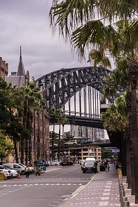 The Harbor Bridge from George Street in The Rocks district - Sydney