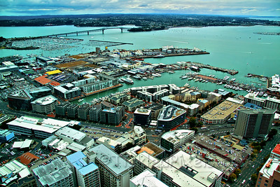 Sky Tower View (tinted glass) - toward Auckland Harbour Bridge