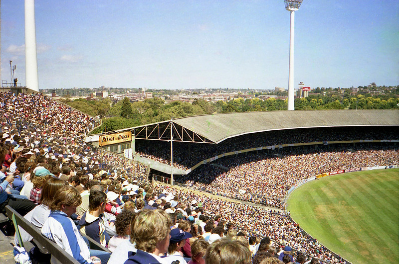 At the MCG in Melbourne watching the World Series Cricket final between Australian and the West Indies Feb 1984.