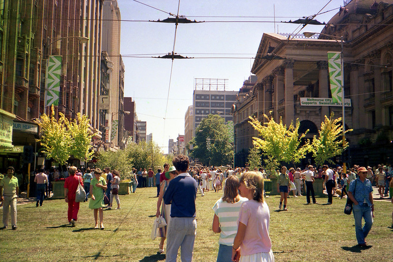 Swanston Street in Melbourne closed and grassed for a weekend to celebrate Victoria's 150th Anniversary in 1985.