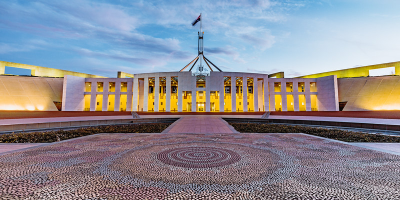 Aboriginal Artwork in the forecourt of Parliament House