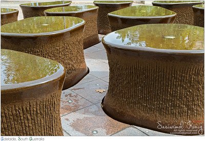 Part of water feature 14 Pieces in front of South Australian Museum in Adelaide. The art is based on form of fossilized vertebrae of the Ichthyosaur.