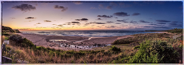 Panoramic shot of a beautiful sunrise @ apollo bay, great ocean road