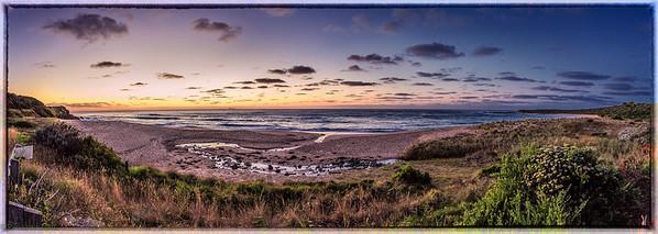 Panoramic shot of a beautiful sunrise @ apollo bay, great ocean road