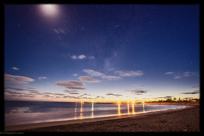 Moonlight night giving way toa  lovely dawn, apollo bay, great ocean road.