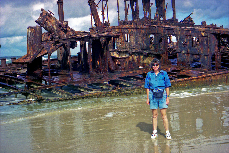Robyn at the wreck of the Maheno on Fraser Island