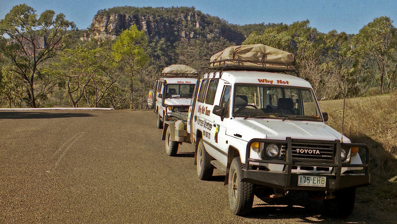 Our tour vehicles at Cania Gorge.