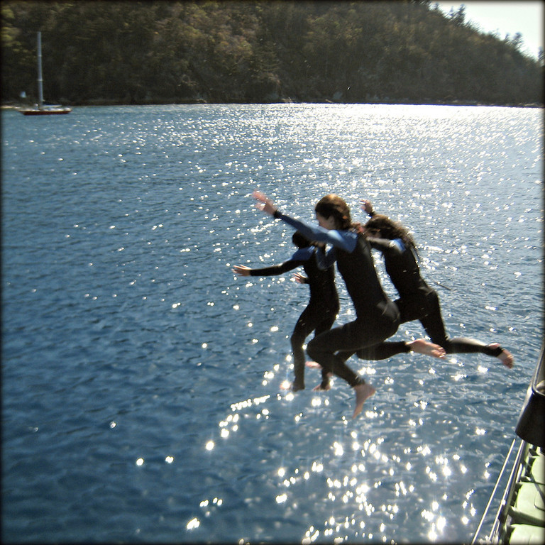 Overcoming my fears and jumping from the top of the boat into the water in Australia