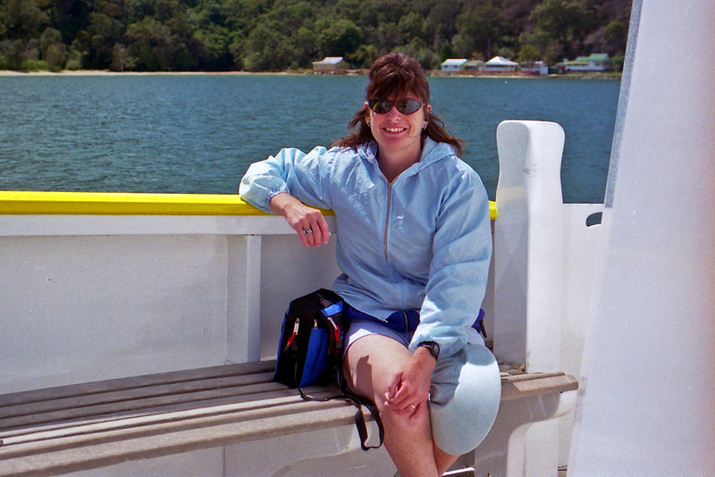 Robyn on the Ferry from Palm Beach to Bobbin Head in the Ku-ring-gai Chase National Park.