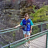 Robyn on the walkway out onto one of the Three Sisters.