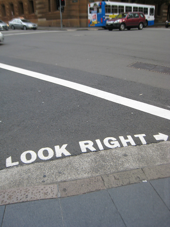 """look right"" street sign in Sydney"
