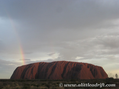 Uluru just after the Rain w/Rainbow