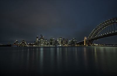 Sydney downtown with Harbour Bridge at night