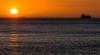 Sunset and ship, Port Philip Bay, Dromana, Mornington Peninsula, Victoria, Australia.