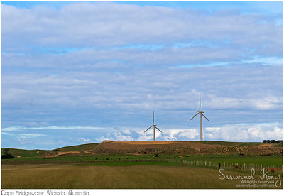 Huge wind turbines at wind farm
