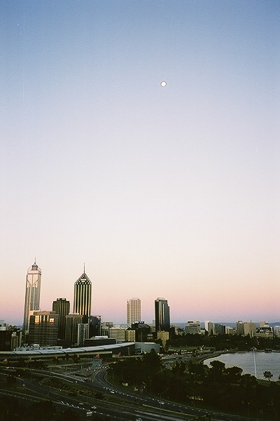 Perth skyline at dusk from Kings Park.