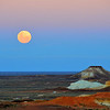 Moonrise over the Breakaways just outside of Coober Pedy - the Outback in Australia.