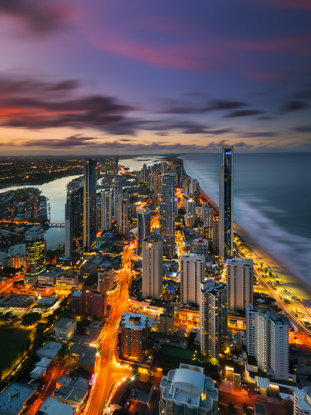 Surfers Paradise as seen from Skypoint 2 images 30 minutes apart taken with 6 stop ND filter (sky and surf), and 3 stop ND filter (city)