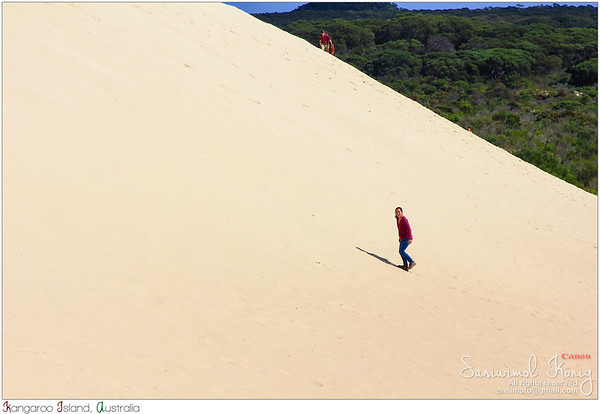 Hiked up at Little Sahara white sand dune