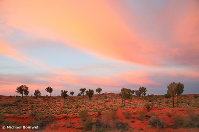 Sunset sweeps a desert plain, NT, Australia
