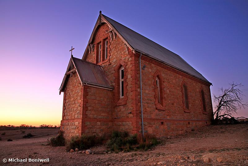 Dawn greets St Carthage Catholic Church, Silverton, Outback NSW. Circa 1886.