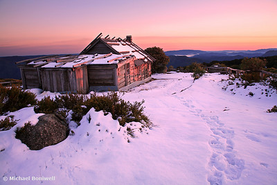 Winter Sunrise over Craig's Hut, Mt Stirling, Victoria