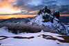 A winter sunset over The Cathedral, Mt Buffalo, Victoria
