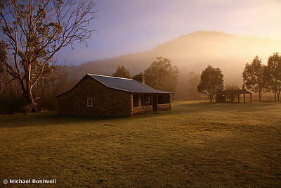 A misty dawn over GeeHe Hut, Kosciusko Nat. Park, NSW.