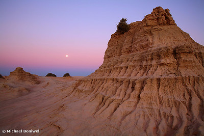 "Moonrise over the ""Walls Of China"", Mungo National Park, NSW."