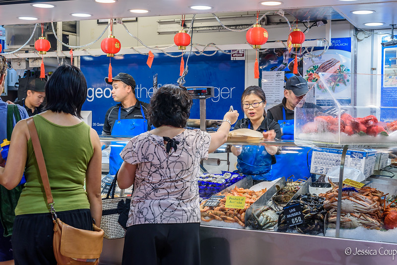 Selling Seafood at Queen Victoria  Market