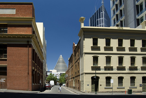 Stewart Street and the Cone 2. The cone is part of the Melbourne Central shopping mall and houses an old lead shot tower, the destruction of which for the purposes of enhancing the shopping experience was vigorously opposed by the National Trust and other bodies concerned with the heritage of Melbourne.