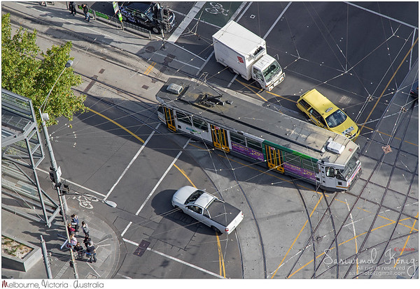 Bird view of Yarra Tram passing La Trobe Street in Melbourne, Australia