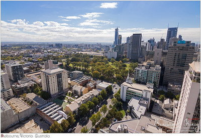 Bird view of Melbourne city with Flagstaff Gardens locating in the middle in Melbourne, Australia