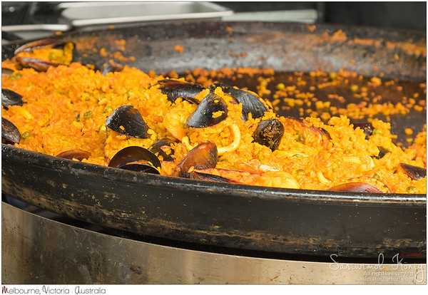 Valencian rice dish, seafood paella - sliced squid, shrimp, mussel, green beans being cooked in a large shallow pan
