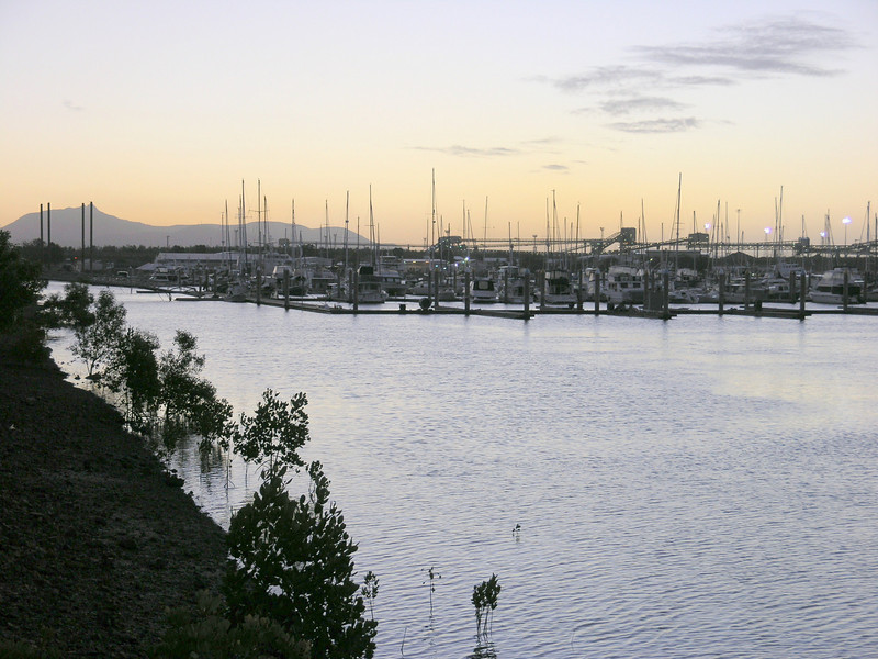 Gladstone Marina, looking toward coal handling terminal - soon to be transferred to a nearby island.