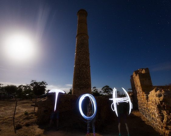 Hughes Enginehouse (Moonta Mines) Jules, Alicia and Dylan lightpainting