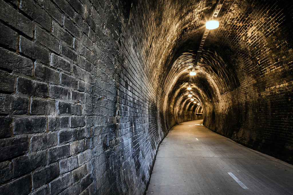 The Fernleigh Tunnel. An old coal and passenger train line that passes under the Pacific Highway Newcastle, now a dedicated cycle and walkway.