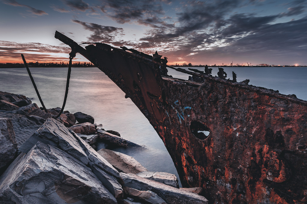 Shipwreck on the Stockton Breakwall