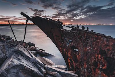 Shipwreck on the Stockton Breakwall