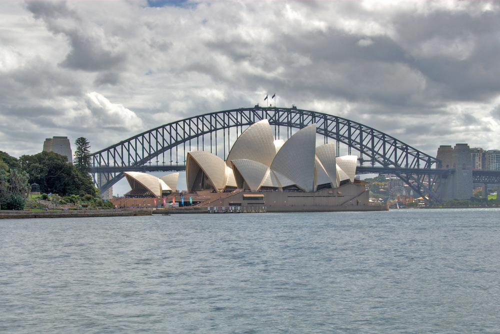 The Harbor Bridge and Opera House in Sydney, Australia