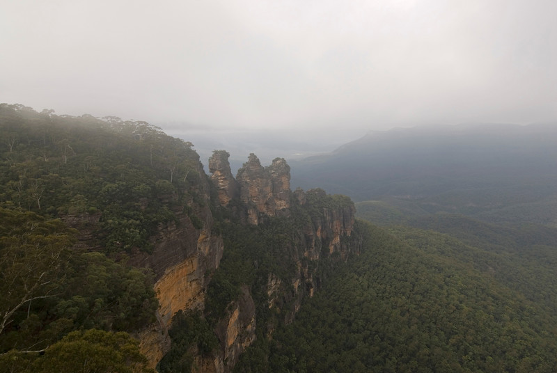 Three Sisters in Fog, Blue Mountains National Park - NSW, Australia