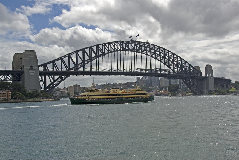 Harbor Bridge With Boat - Sydney, NSW, Australia