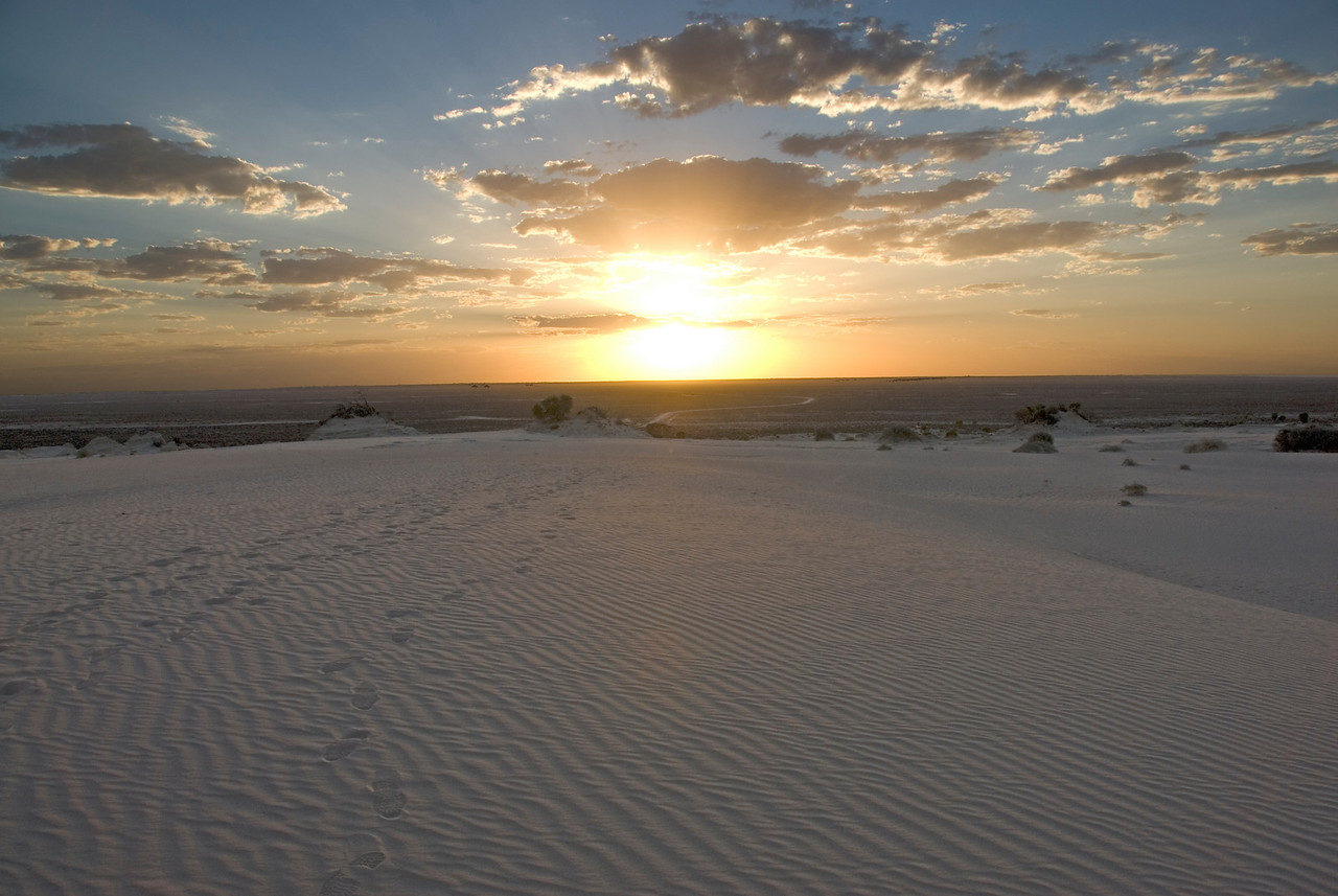 Footprints at Sunset - Mungo National Park, New South Wales, Australia