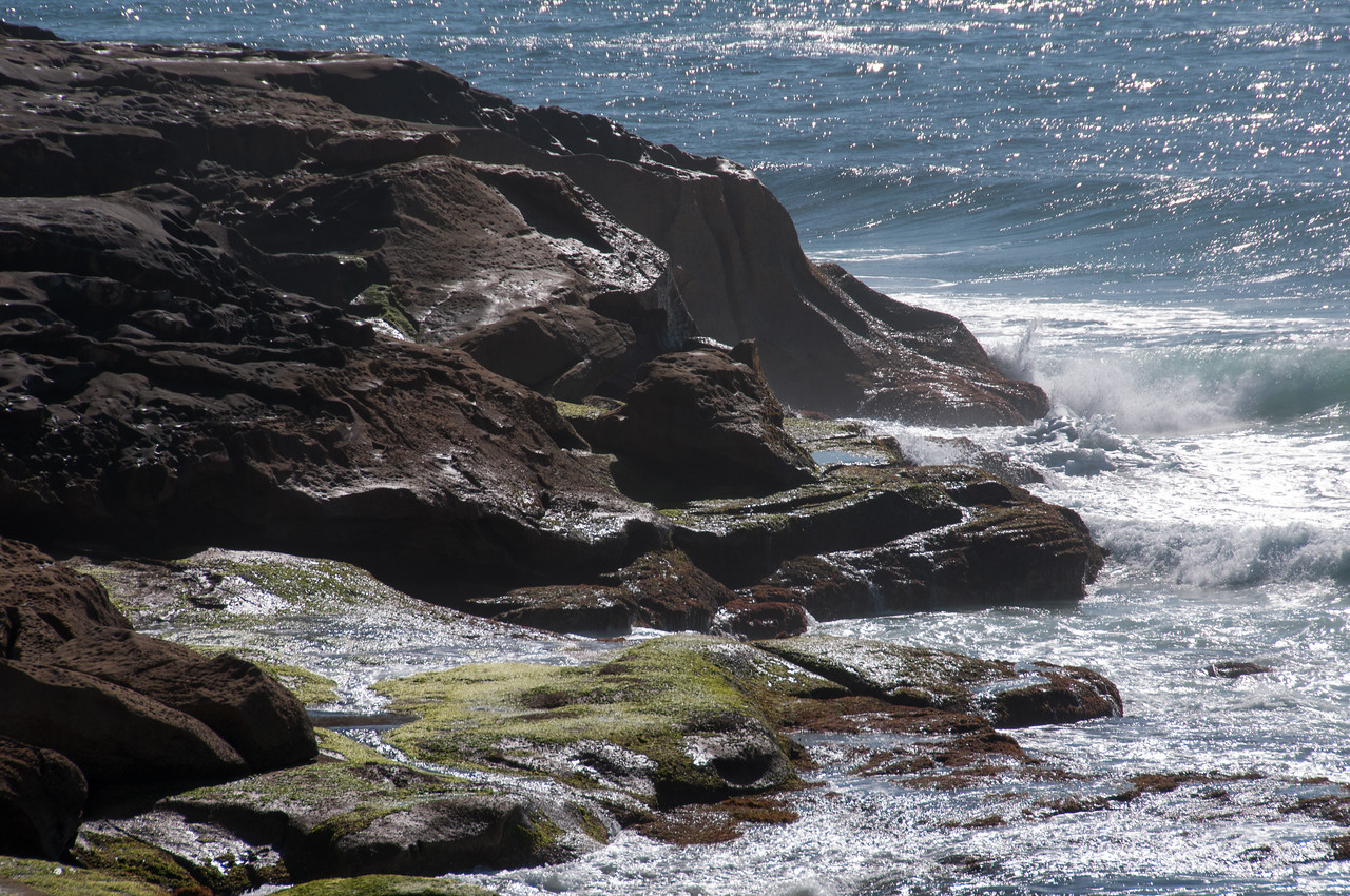 Rocky cliffs in Tamarama Beach, New South Wales, Australia