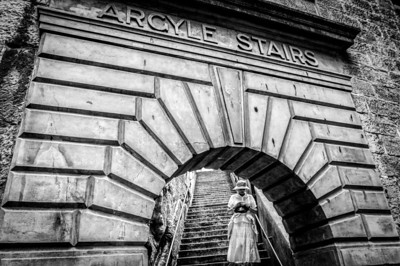 Woman Descending the Argyle Stairs in Sydney, Australia