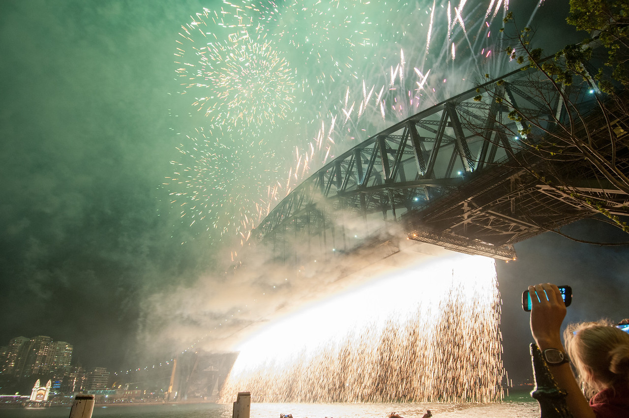 Fireworks over Sydney Harbour Bridge on New Year's Eve celebration