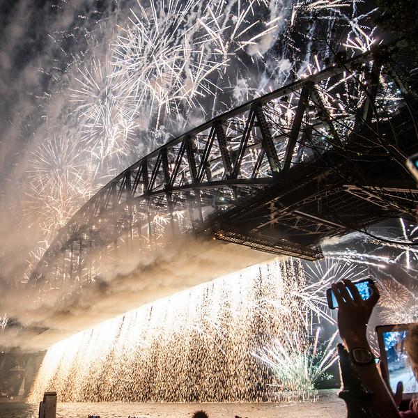 Fireworks over Sydney Harbour Bridge on New Year's Eve celebration