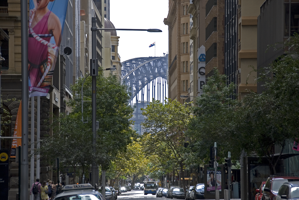 Harbor bridge from Pitt St., Sydney, Australia