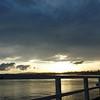 A sunset over the bridge